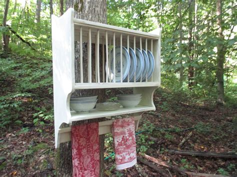 farmhouse plate rack  primitive towel rung hanging plate