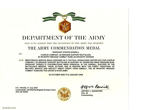 Good Conduct Form by Template Army Good Conduct Medal Certificate Template