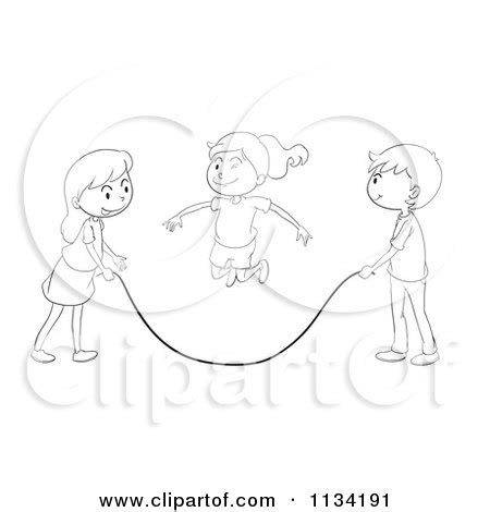 jump rope clipart black and white of black and white children with a jump