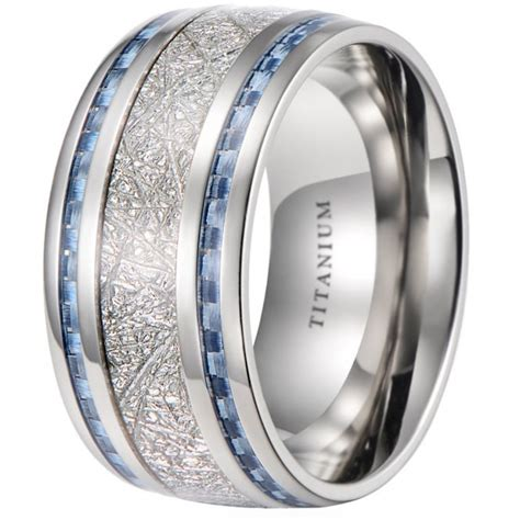 mens 10mm meteorite inlay titanium wedding band ring with blue carbon fiber ebay