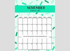 November 2018 Calendar Cute calendar for 2019