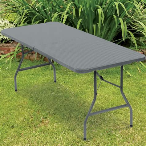 table pliante d appoint effet r 233 sine tress 233 e grise 180 cm pour
