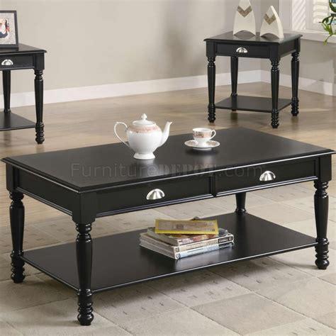 Black Satin Finish Classic 3pc Coffee Table Set Wshelves