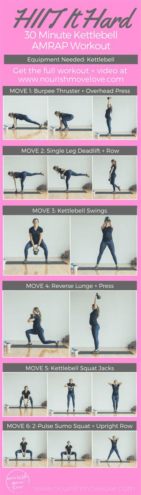kettlebell workout hiit minute amrap hard workouts body kettle bell abs nourishmovelove killer exercises min fitness lower dumbbell arms burn