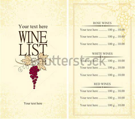 wine menu templates sample templates