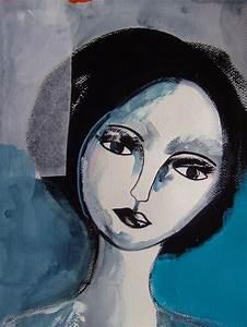 Peinture Visage Femme : portrait femme peinture visage femme portrait sur papier art contemporain peintures par celine ~ Melissatoandfro.com Idées de Décoration