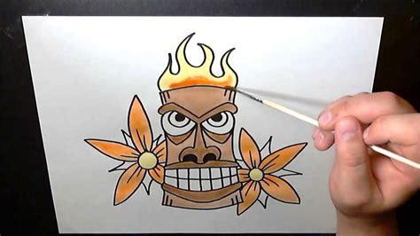 hawaiian tiki mask speed painting art timelapse