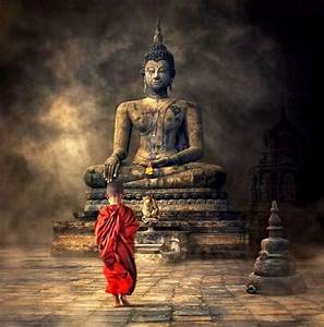 Fantasy Art -Young Monk And The Buddha by James Britto