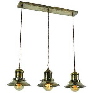kitchen island with pendant lights hanging kitchen island light with 3 nautical style antique brass shades