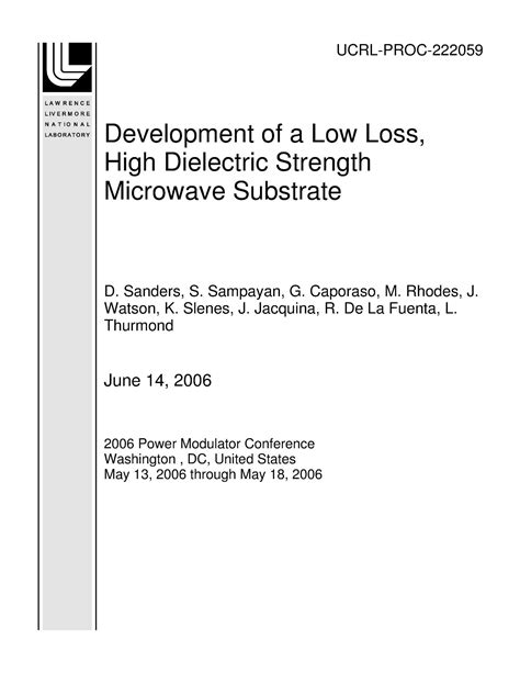 Development of a Low Loss, High Dielectric Strength