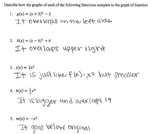 Comparing Functions Quadratic