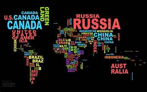 Country names on the map wallpapers and images ...