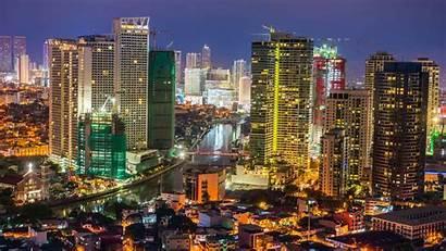 Makati Buildings Philippines Night Sky Manila Skyline