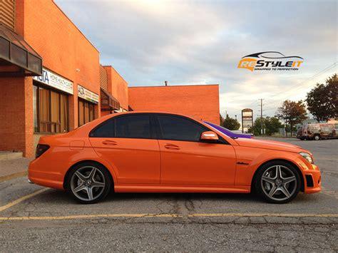 orange mercedes burnt orange c63 vehicle customization shop vinyl car
