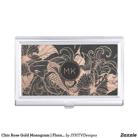chic rose gold monogram floral koi personalized business
