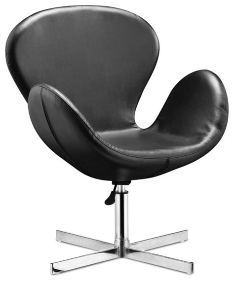 cobble swan swivel chair black leather modern