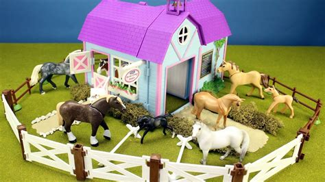 horse stable barn playset  kids animals toys video