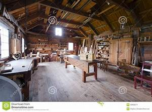 Carpentry With Tools And Wood Workpieces Stock Photo
