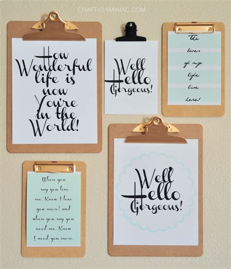 clipboard wall art   printables