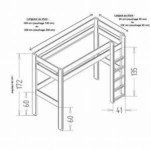 Echelle Pour Lit En Hauteur : lit mezzanine dominique hauteur 172 cm laqu le ~ Premium-room.com Idées de Décoration