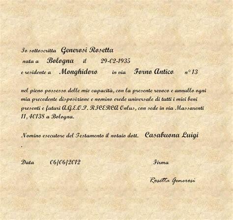 Testamento Olografo Legittima by Testamenti Olografi Esempi