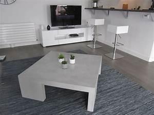 Table En Béton Ciré : table de salon grise en beton cire photo de beton cire ~ Premium-room.com Idées de Décoration