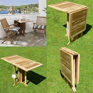 Klappbarer balkon tisch aus teak holz balkontisch klappbar for Balkon tisch