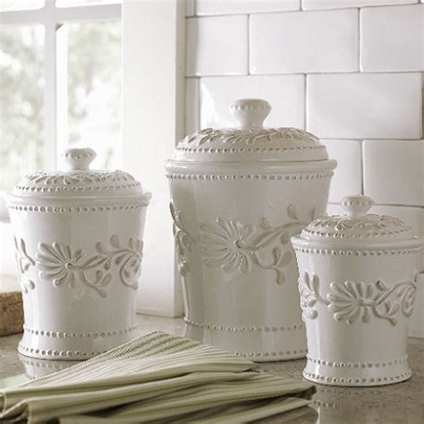 White Kitchen Canister Sets by Ceramic Kitchen Canister Set White Ivory Counter Coffee
