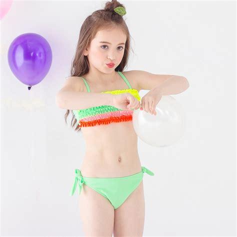 Colorful Pleated Little Girl Teen Swimwear Bikini Tianex