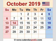 October 2019 Calendar calendar month printable