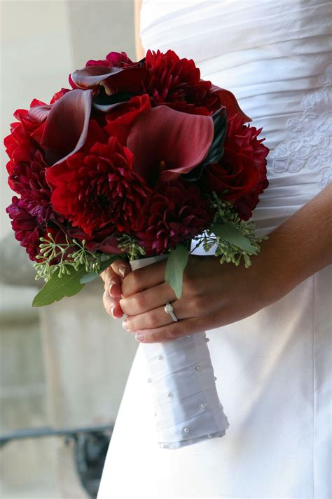 pretty dark red bouquet tags  bloomed florals