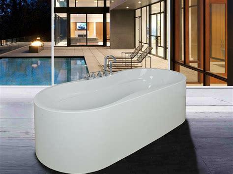 Shower Tub Plumbing by New Soaking Bathtub Acrylic White Pedestal Bath Tub W