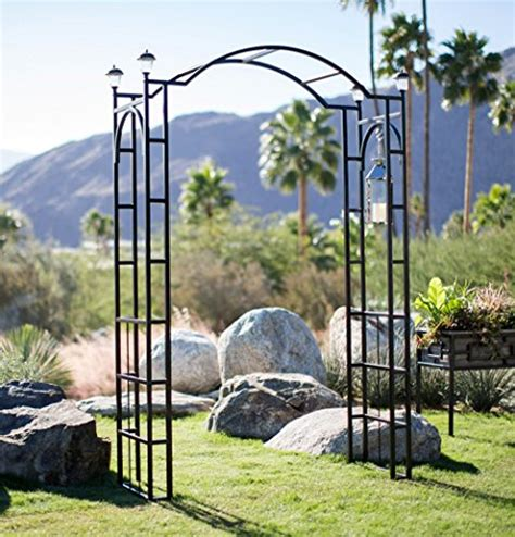 Shop Garden Trellis by Outdoor Garden Arch 7 5 Ft W 4 Solar Lights Patio