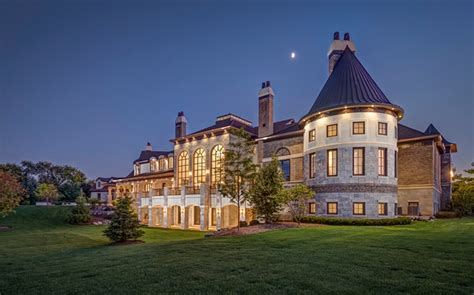 exquisite  square french country stone mansion