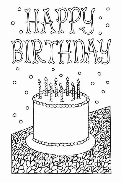 Coloring Cards Birthday Printable Happy Card Pages