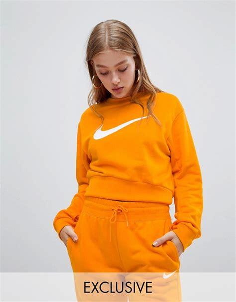 nike exclusive  asos orange large swoosh logo cropped