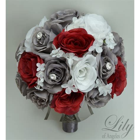 Grey White Silver Charcoal Red Apple Bouquets Corsages
