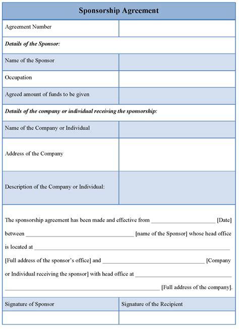 sponsorship agreement template agreement template for sponsorship exle of sponsorship agreement template sle templates