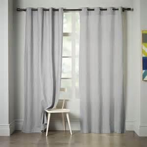 linen cotton grommet curtain platinum west elm au