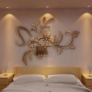 D mirror flower art removable wall sticker acrylic mural