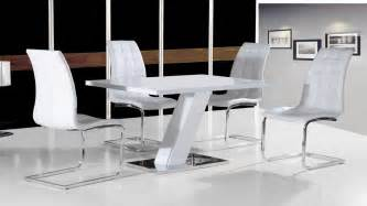 white high gloss dining table set and 4 chairs with chrome