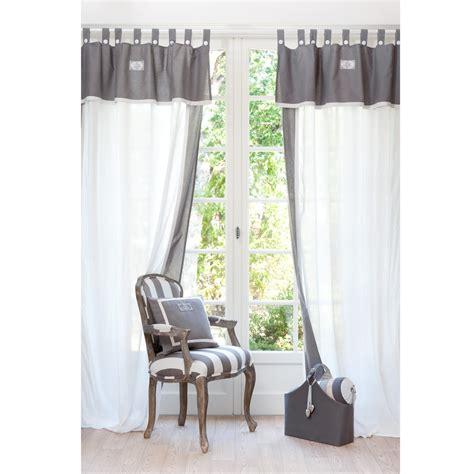 rideau chambre ado rideau à passants en coton blanc et gris 140 x 300 cm
