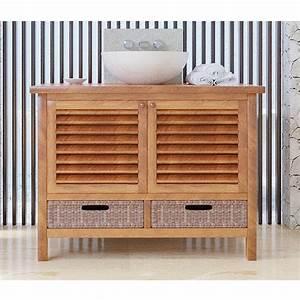 Meuble Salle De Bain Bas : meuble bas de salle de bain teck ubud ~ Teatrodelosmanantiales.com Idées de Décoration