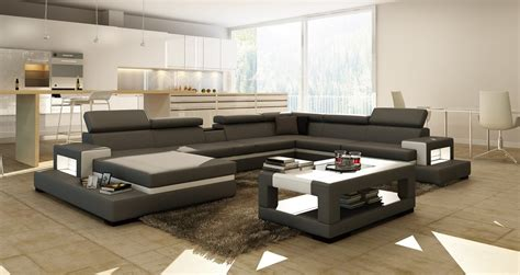 divani casa  grey  white bonded leather sectional