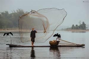Chinese traditional senior fisherman throwing fishing net ...