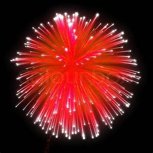Red festive fireworks at night | Stock Photo | Colourbox
