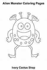 Coloring Alien Printable Monster Cool Preschool Monsters Pdf Kindergarten Instant Adult sketch template