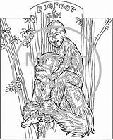 Coloring Printable Bigfoot Pages Sasquatch Yeti Colouring Template Morian Etsy Foot Drawings Footprints Monster Designlooter Templates Mythical Creatures 713px 37kb sketch template