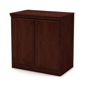 south shore furniture wood laminate storage cabinet with shelves in royal cherry 7246722