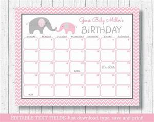 Pink Raffle Tickets Pink Chevron Elephant Printable Baby Due Date Calendar